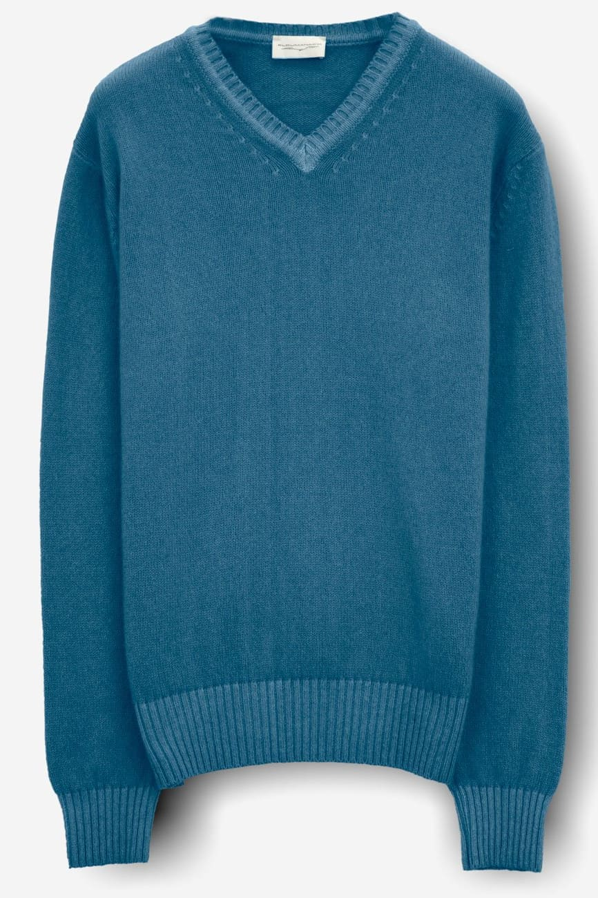 Oban Hurricane Cashmere Blend V-Neck Sweater - Sweaters