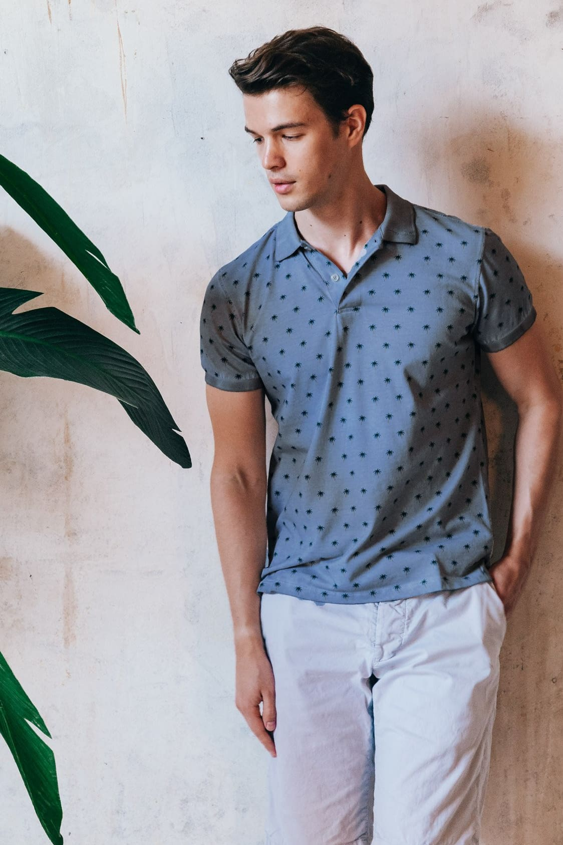 Palm Patterned Polo Shirt - Jeans - Polos