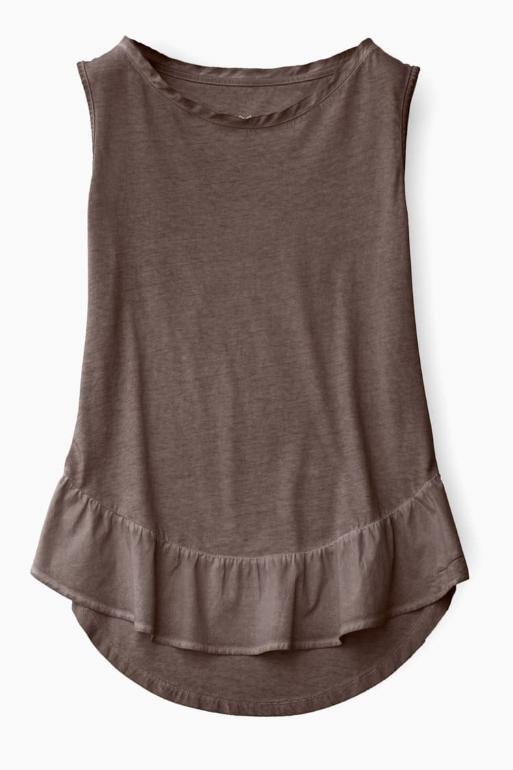 Peplum Tank in Coconut Brown - T-Shirt