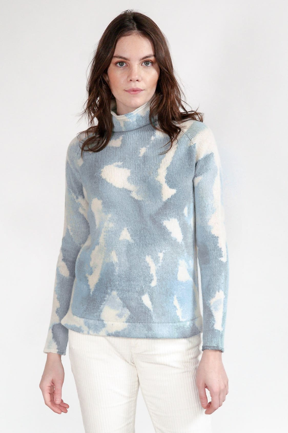Rhue Hand Painted Turtleneck - Ocean Storm - Sweaters