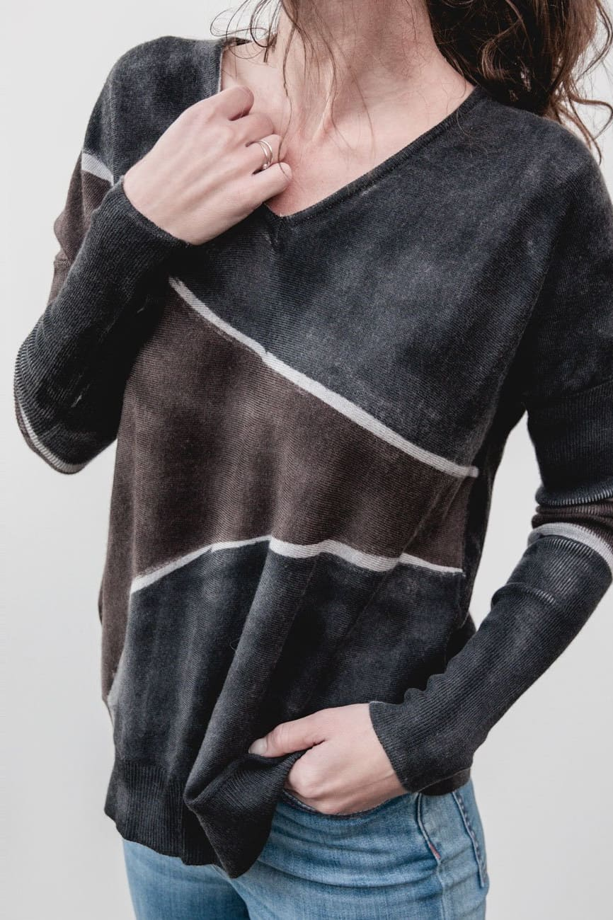 Special Edition Oversized Jumper in Grey and Brown Merino Wool - Ploumanac'h