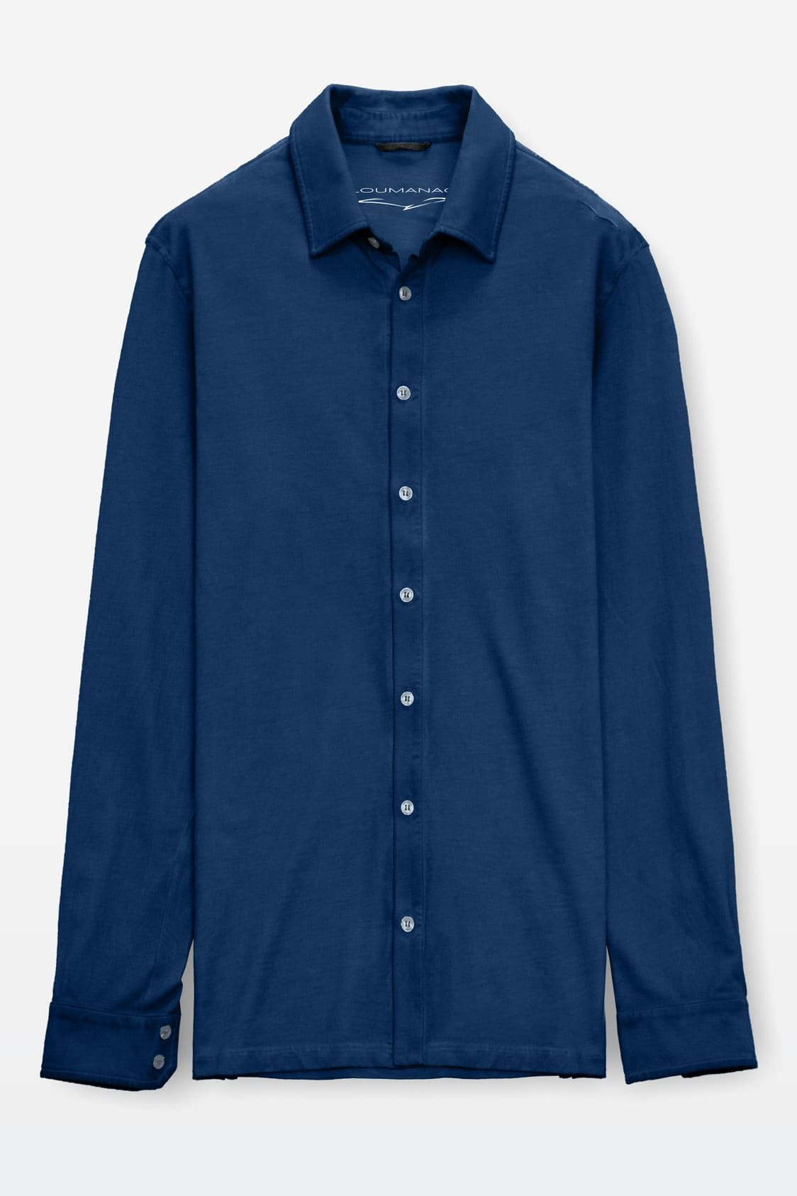 Stretch Cotton Pique Shirt - Navy - Shirts