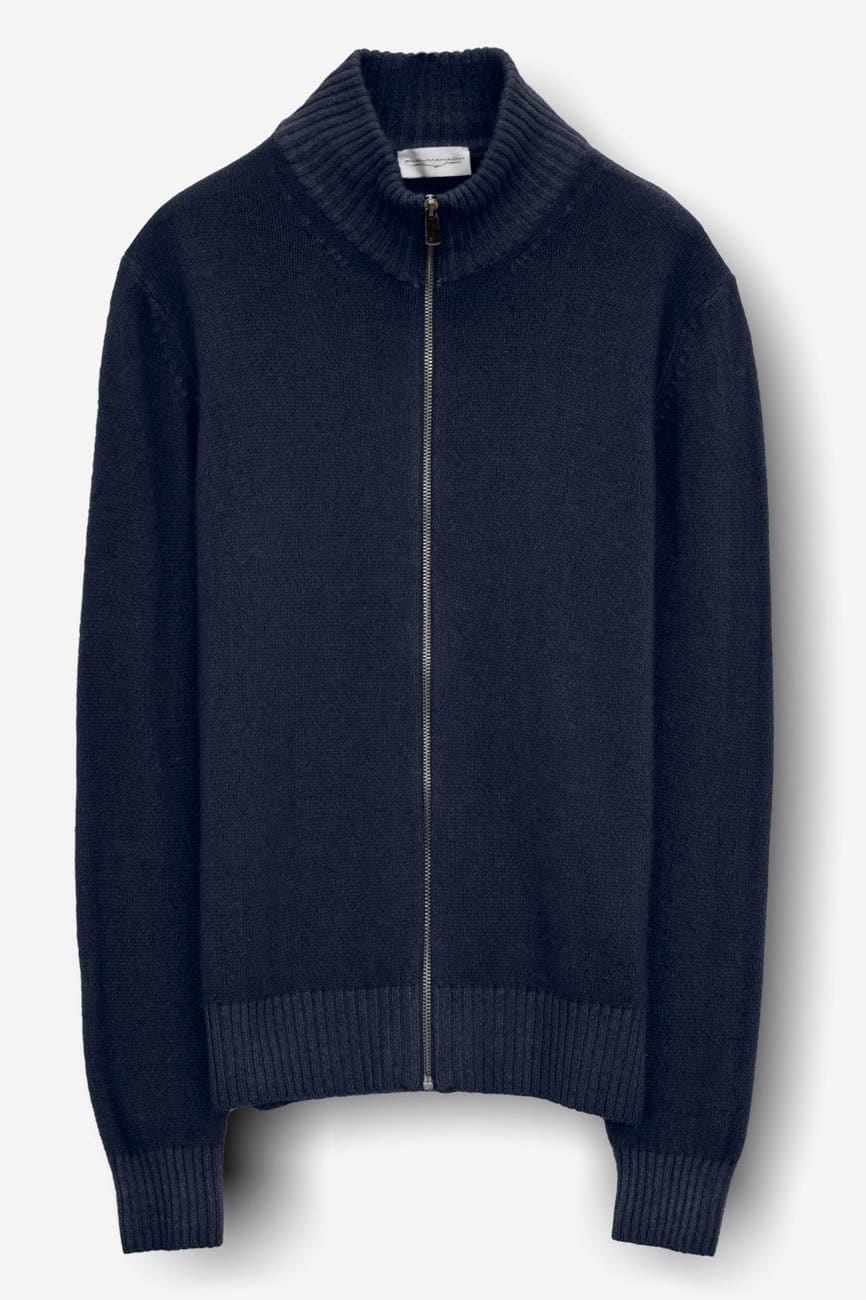 Tanar Abyss Cashmere Blend Full Zip Sweater - Sweaters