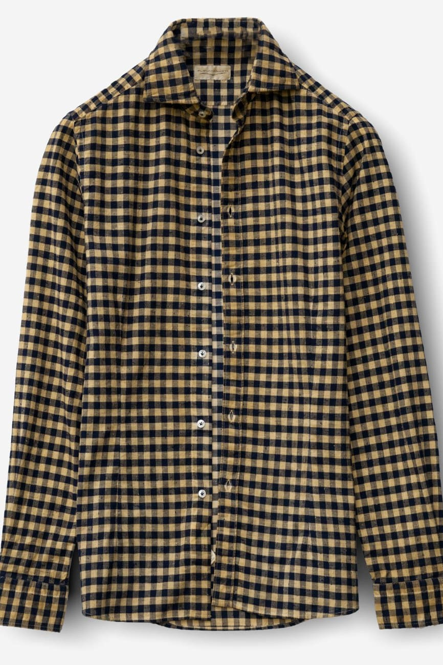 Winch Curry Spread Collar Check Flannel - Shirts