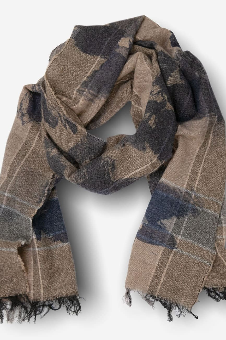 Wool Blend Scarf in Denim & Castoro - O/S