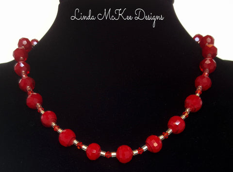 Cherry Red Crystal Necklace