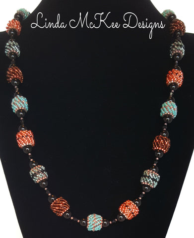 Beaded Turquoise, Copper bead Necklace