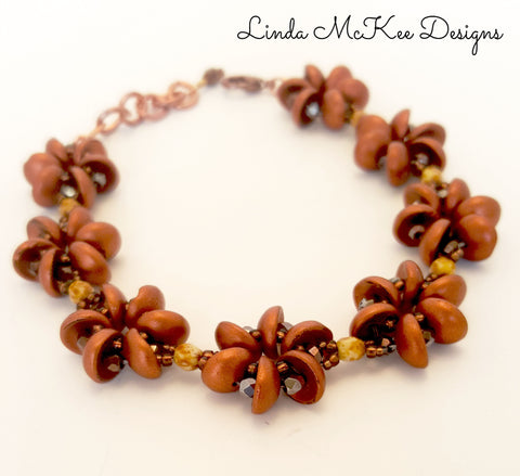 Beaded Brown Flower Bracelet