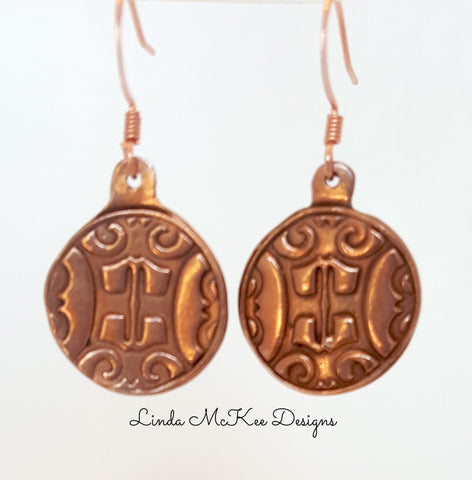 Copper Coin Earrings
