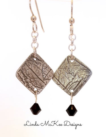 Distressed Silver Dangle Earrings