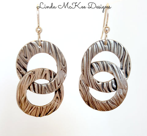 Double Ring Silver Striped Earrings