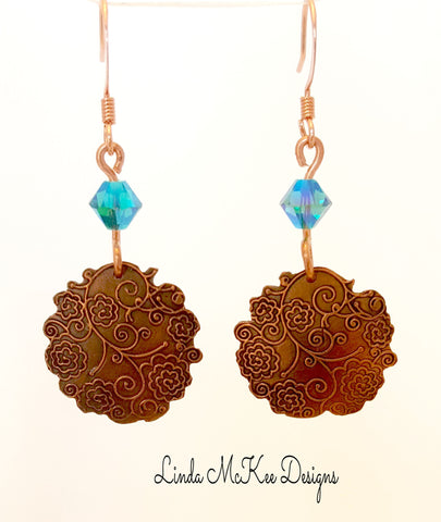 Floral Copper Crystal Earrings