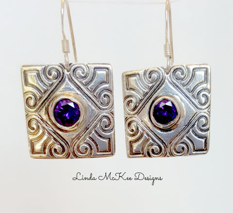 Purple CZ Stamped Earrings