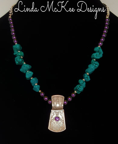 Fine Silver Turquoise Amethyst Necklace