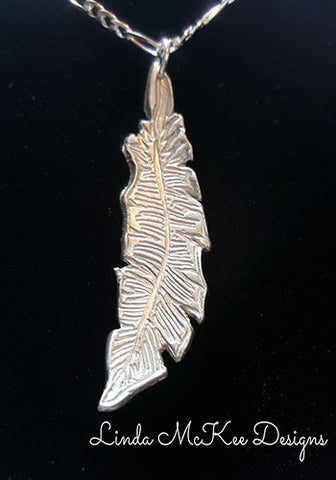 Detailed Silver Feather Necklace