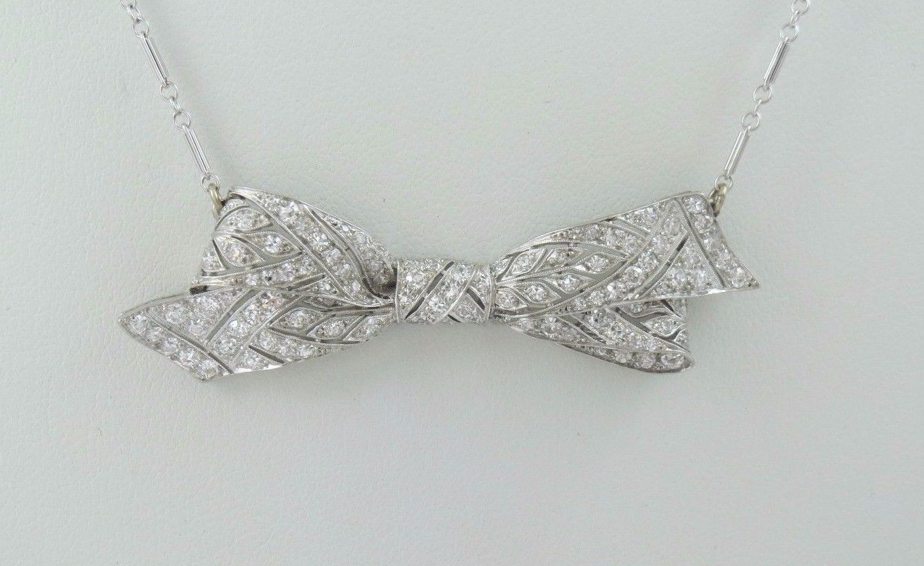 2.00 ctw Art Deco Platinum & 14K Gold Diamond Bow Necklace - 20 Inches
