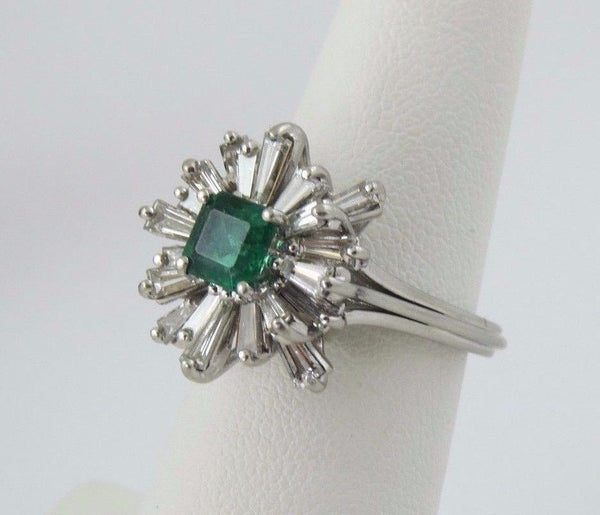 3 ctw Emerald and Diamond Starburst Platinum Ring