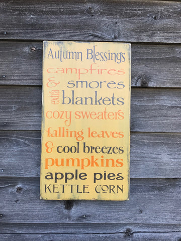 Autumn Blessings hand painted wood sign, Fall decor, autumn decor , Thanksgiving decor, primitive home decor, autumn decoration, autumn sign
