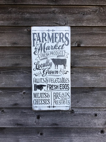 ... Farmers Market Wood Sign, Farmhouse Decor, Primitive Rustic Home Decor  Sign, Kitchen Decor