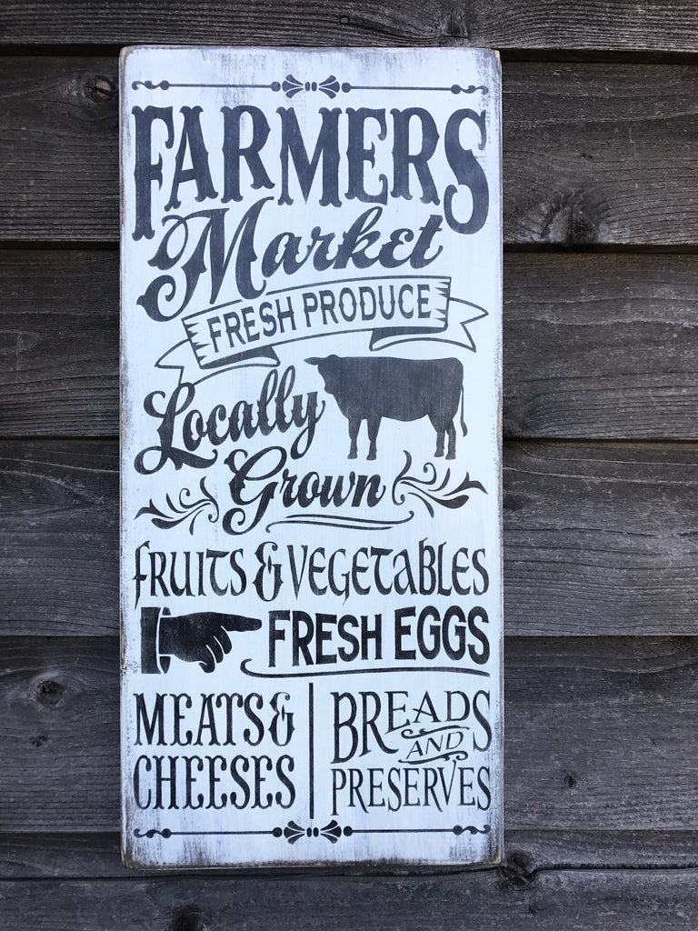 Farmers Market wood sign, farmhouse decor, primitive rustic home decor sign, Kitchen decor, farmhouse sign, hand painted sign, wood sign