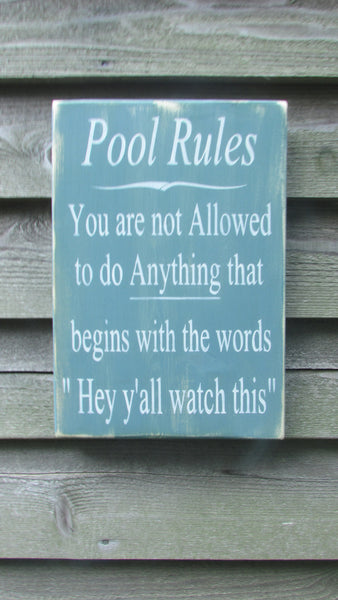 Hand Painted Wood Sign Pool Rules Sign Pool Sign