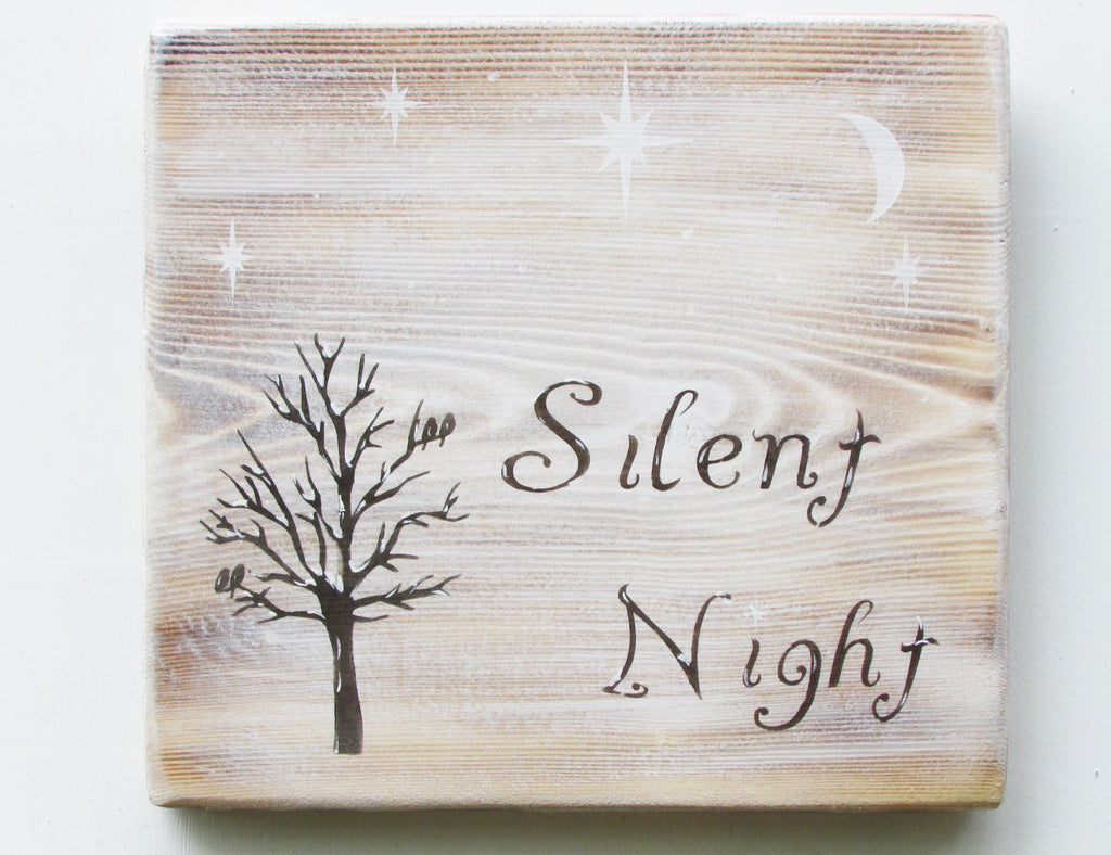 Christmas decor, christmas sign, silent night sign, country christmas decor, primitive christmas decor,