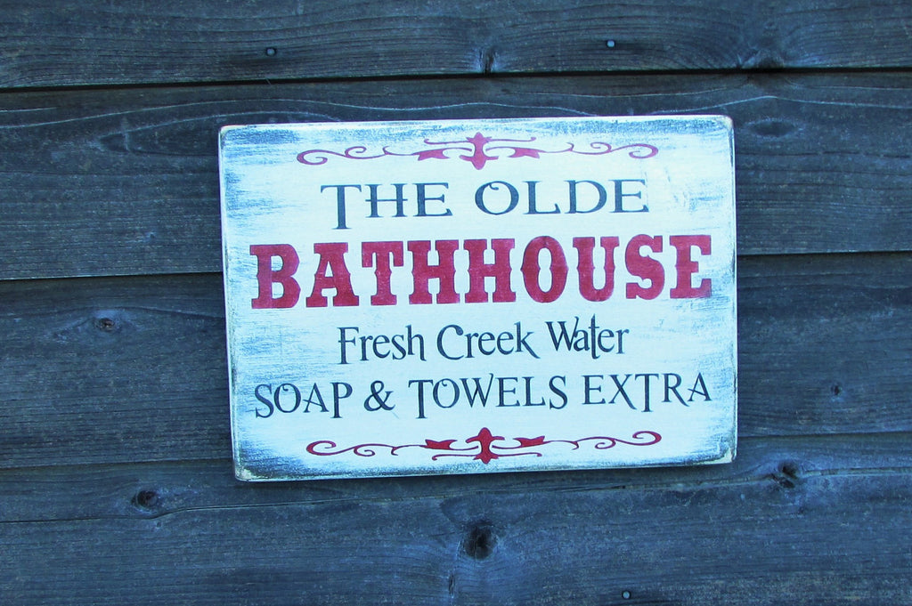 primitive rustic bath sign, bath decor, shabby chic bath decor, country bath sign, home decor, bath sign, hot bath sign, home and living,