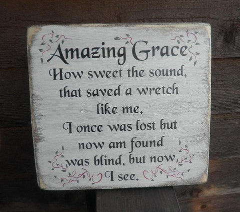 amazing grace sign, wood sign, hand painted sign, distressed sign, primitive sign, rustic signs,primitive home decor, rustic home decor