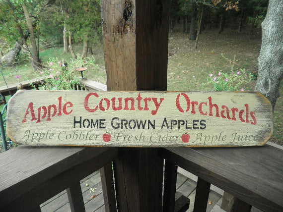primitive wood sign , rustic apple kitchen sign by Mockingbird Primitive
