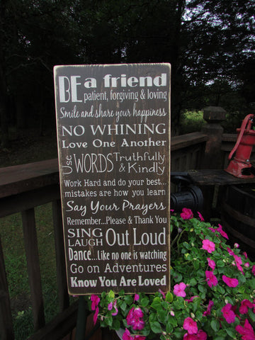 Family rules sign, primitive country sign, wall decor, hand painted sign, wood sign, distressed sign.