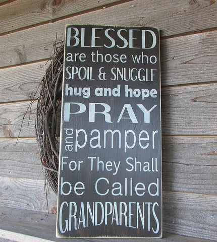 grandparents sign, family rules sign, wood sign, hand painted sign, primitive sign  by Mockingbird Primitive