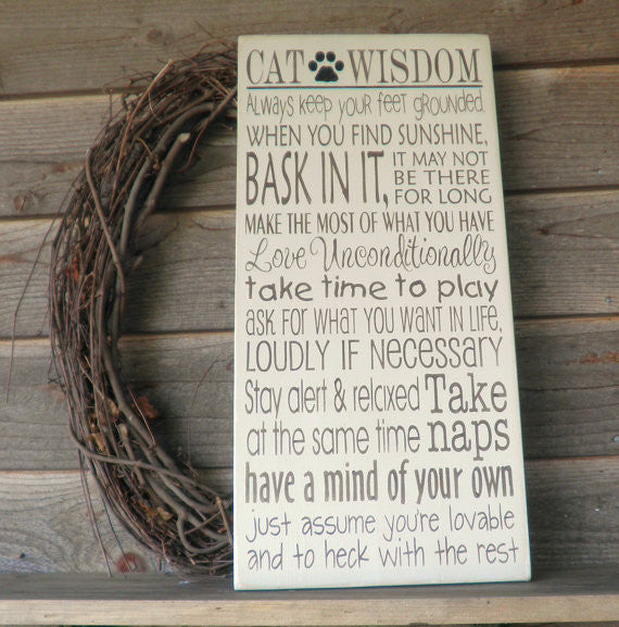 funny cat sign, funny pet sign, cat wisdom, primitive home decor, rustic home decor, distressed sign, hand painted sign, wood signs