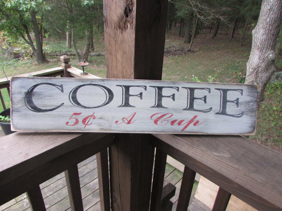primitive rustic wood signs, coffee sign, hand painted sign, distressed sign, rustic look, by Mockingbird Primitives