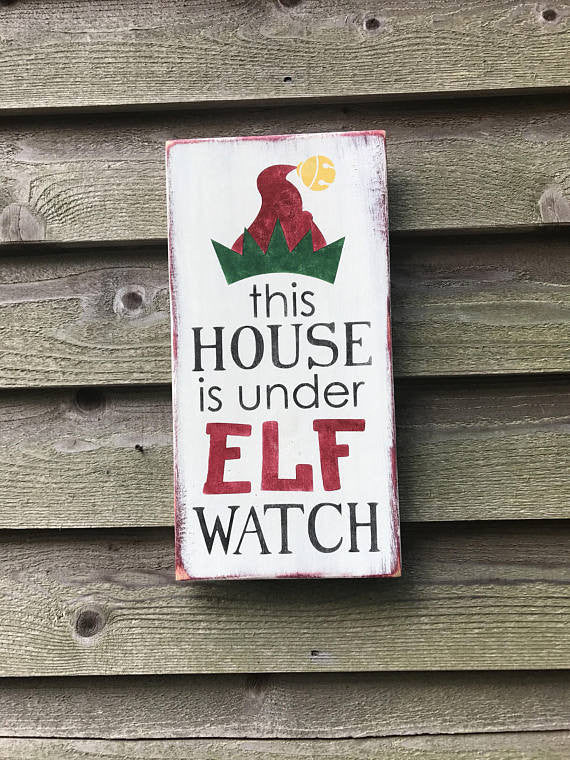 christmas decor elf sign funny christmas sign christmas home decor holiday decor