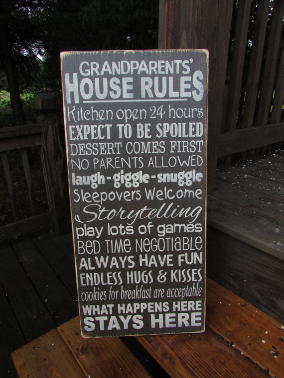 Grandparents house rules, wood sign, hand painted sign, distressed sign, primitive country sign, primitive home decor