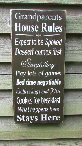grandparents sign, grandparents house rules, primitive rustic sign, primitive country decor. primitive sign, wall decor