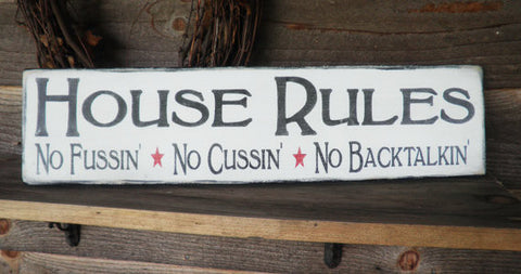 primitive sign, rustic sign, house rules sign, family rules sign, hand painted sign, wood sign, primitive home decor
