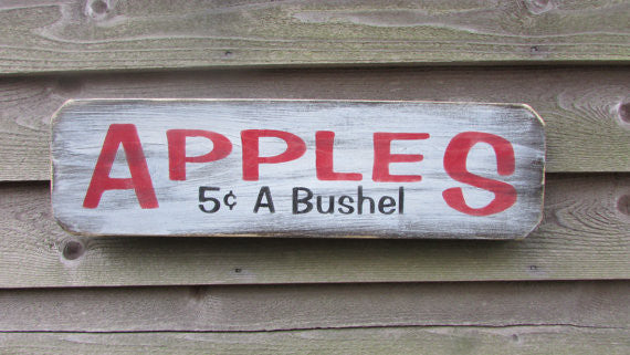 wood sign, hand painted sign, primitive home decor, rustic home decor,Apple wood sign