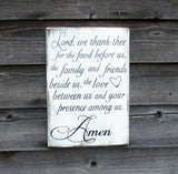 Kitchen sign, wood sign, primitive sign, Say Grace sign, handpainted sign, distressed sign, Lord we thank thee, inspirational sign