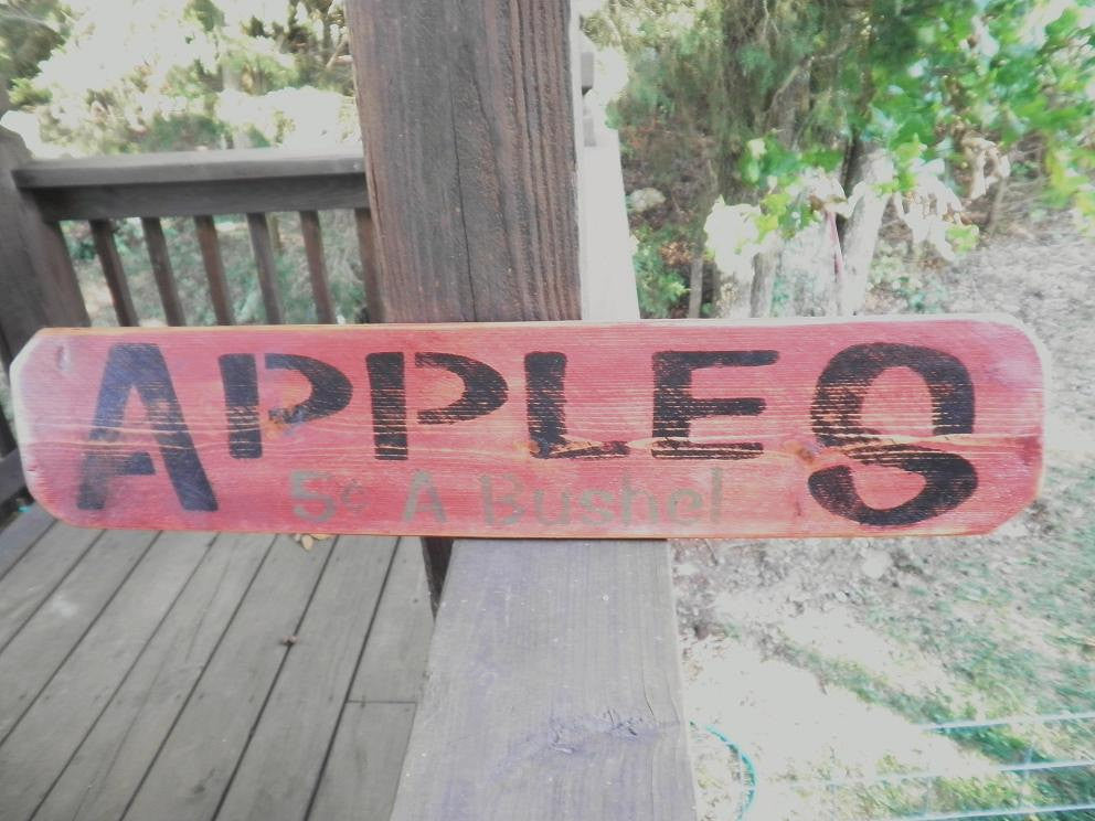 Primitives, primitive sign, rustic, rustic sgin, wood sign, home decor apples, country kitchen, kitchen, outdoor decor, garden decor, sign