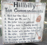 Hillbilly ten commandments sign, wood sign , ten commandments, primitive wood sign, hillbilly scripture plaque, inspirational sign