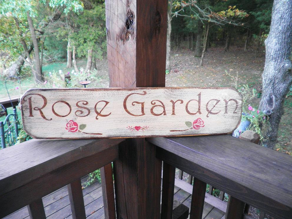 primitive countr ywood sign, Rose Garden sign, primitive sign, Garden sign, rose, rustic sign, country garden, wood sign garden decor