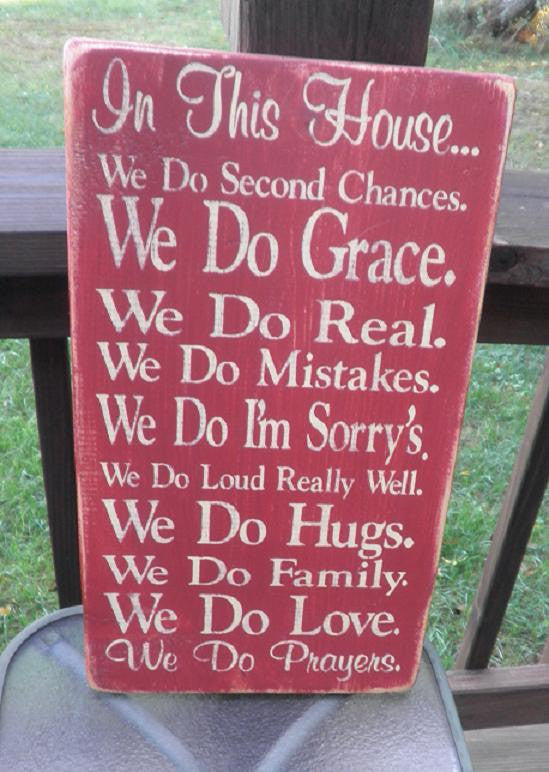family rules, we do Grace, Family Rules, Primitive,  Subway Art, Typography, Distressed, Sign, Decor