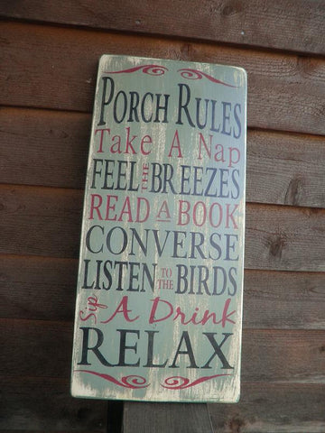 Porch Rules, wood sign, Patio Rules sign, outside decor,  distressed sign, primitive decor, wall hanging, shabby chic,