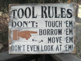 country home decor, family rules, wood sign, tool rules, funny sign for dad, Tool Rules, sign for fathers day, primitive decor, fathers gift