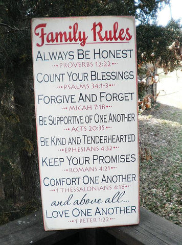 home decor, primitive country sign, Family Rules Sign, scripture rules, inspirational sign. wood sign, primitive sign, wedding gift
