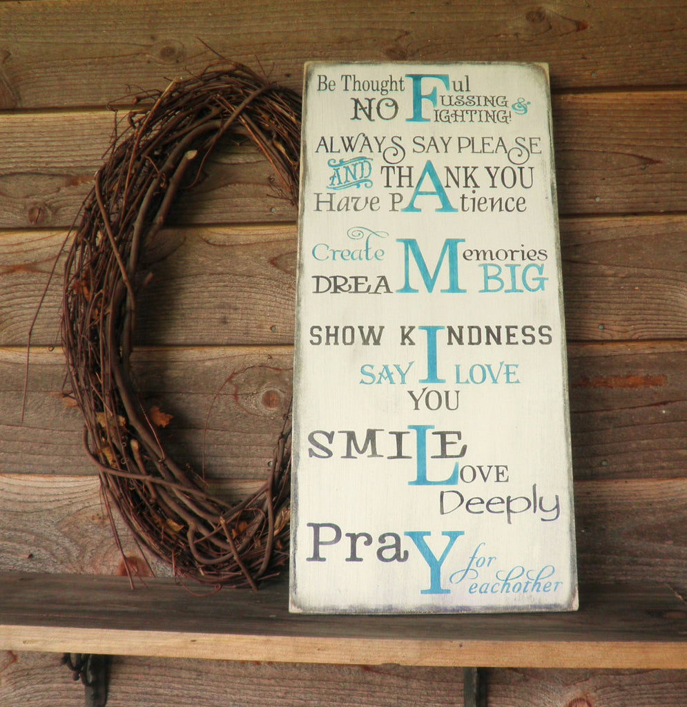 Family rules, house rules, inspirational sign, wall decor, primitive decor, rustic decor