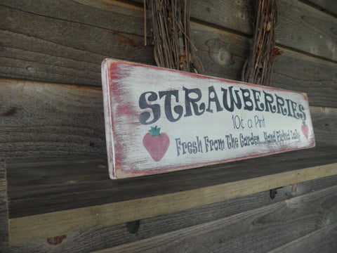 fall wall deor.htm primitive home decor wood sign  hand painted strawberry  kitchen  hand painted strawberry  kitchen
