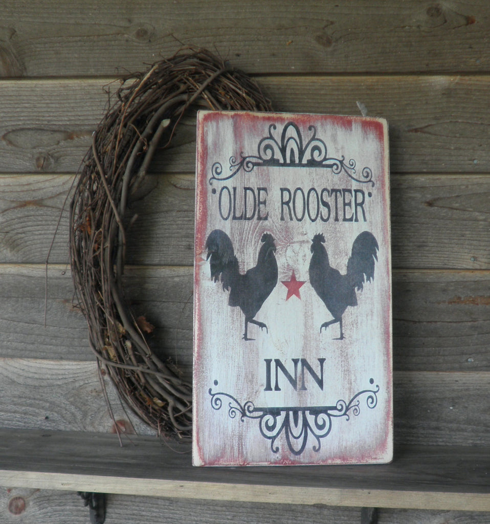 Rooster sign, wall hanging,primitive rooster sign , Old Rooster , primitive home decor, roosters, chicken , wood sign,vintage looking sign