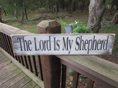 rustic sign, primitive sign, home decor, primitive home decor, wood sign, hand painted, scripture sign, lord is my shepherd, religious plaque